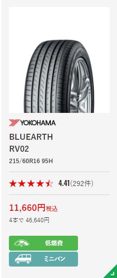 タイアフッド YOKOHAMA ブルーアース RV-02 215_60R16